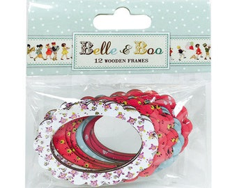 SET of 12 wooden oval SHABBY CHIC frame EMBELLISHMENT SCRAPBOOKING SCRAP BELLE & BOO COLLECTION VINTAGE PHOTO