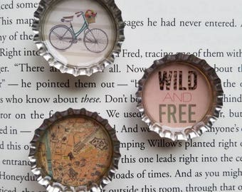 Set of 3 wild and free magnets Bottle cap magnets Bicycle magnet Map magnet Wild and free Girlfriend gift Locker magnets Simple magnets