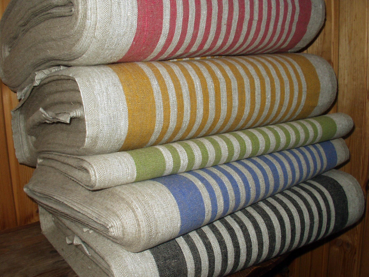French Canvas Pure Linen Fabric Narrow Strips Upholstery