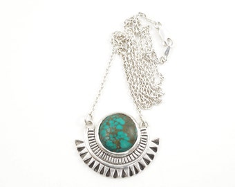 Empire necklace - sterling silver pendant on silver chain, with turquoise stone