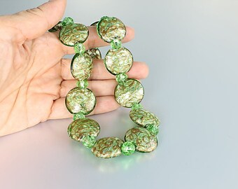 Gold Foil Necklace, Italian Murano glass Necklace, Opalescent Peridot green vintage jewelry