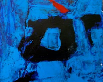 Blue Painting Abstract Modern Original 10x10 Inspired by Franz Kline Bold Contemporary Painting Black square Red Ready to hang Midcentury