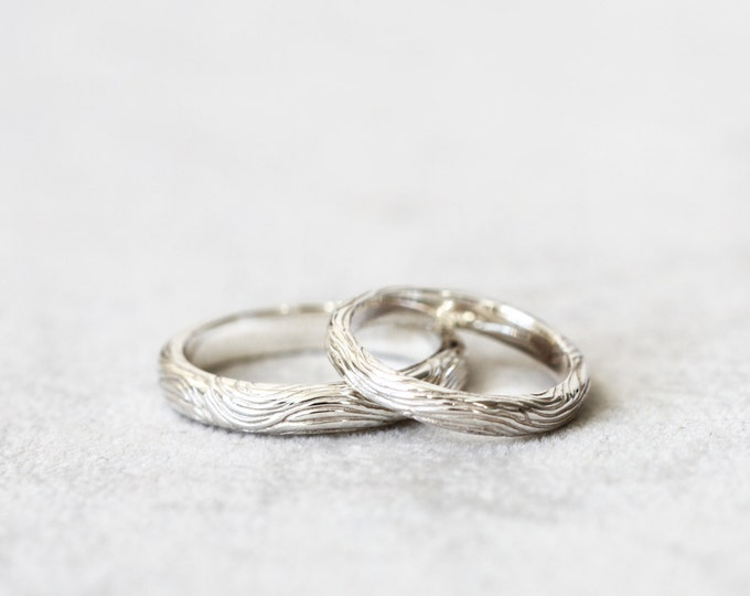 Flow wedding band set -  925 silver textured - for him and her - wedding