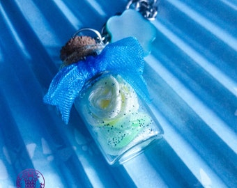 Yellow/Green Roses Bottle Charm Necklace