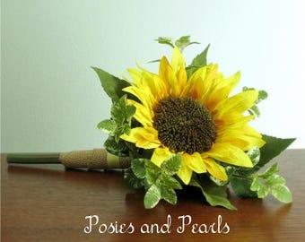 "Single Stem Silk Sunflower Bouquet, Large Yellow Sunflower with Dark Center, Natural Burlap Wrap, Rustic Wedding Bouquet, ""Helene"""