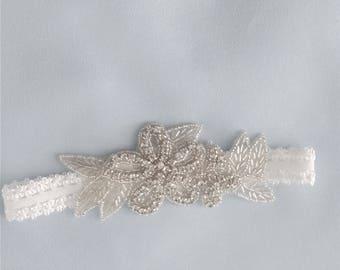 Rhinestone headband, Baptism. Flower girl headband, Christening, Birthday. Photo prop,  Prom, Wedding, Bridal