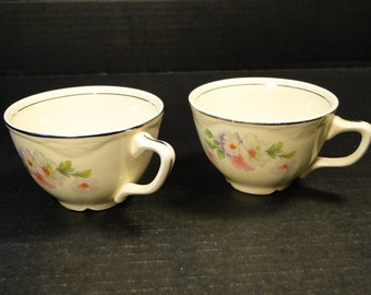 TWO Homer Laughlin Virginia Rose Fluffy Rose Cups Set of 2 EXCELLENT!