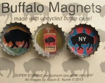 Buffalo Magnets - Vibrant Color Bottle Cap Magnets - Packaged Gift Set of 3 - Buffalo Gift