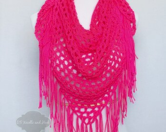 Neon Pink Boho Fringe Scarf, Magenta Triangle Scarf, Handmade Neck Warmer, Mesh Crochet Shawl, Hot Pink Fringe Cowl, Light Shawl