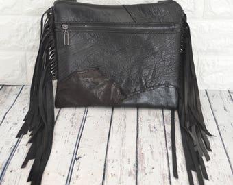 Black Leather, Boho, Hip Bag, Belt Bag, Festival or Motorcycle Purse, by Dirt Poor Couture