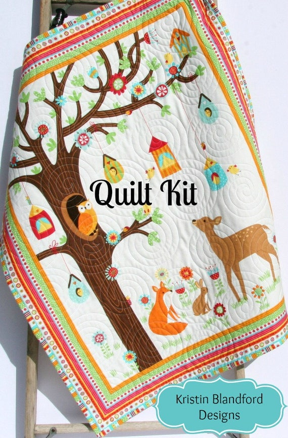 Quilt kit flannel baby blanket panel quick easy woodland quilt kit flannel baby blanket panel quick easy woodland forest fox deer owls outdoor trees rustic brown green diy do it yourself solutioingenieria Images