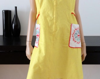 Dress blouse mod/Yang yellow vintage 44/46 - uk - size 16/18 us 12-14
