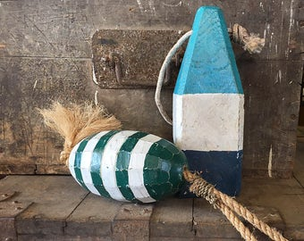 Coastal Decor Set Blue Green Lobster Buoy Nautical Wooden by SEASTYLE