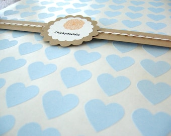 "Blue Heart Stickers - Baby Blue Stickers, Set of 108, 0.75"" x 0.75"""