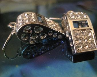 Silver Whistle Earrings - Dangle Earrings - Rhinestone Whistle Earrings - Rhinestone Jewelry - Whistle Jewelry