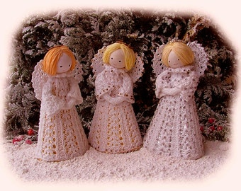 LITTLE CHRISTMAS ANGELS toy knitting pattern for Christmas  by Georgina Manvell