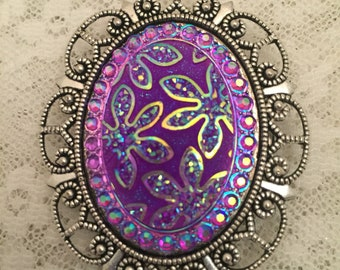 Magnetic Brooch, Shawl Pin-Sparkling Flowers, Purple