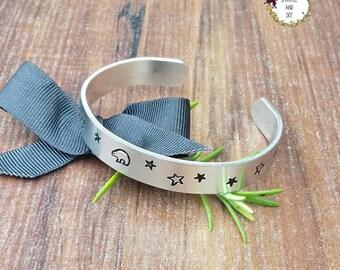 Bear and Star Bracelet, Stargazing Gifts, Stargazer Bear Bracelet, Hand Stamped Aluminium Cuff Bracelet,