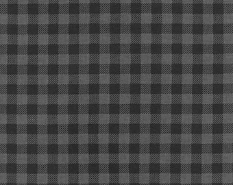 One (1) Yard - Burly Beavers plaid print quilter's cotton Robert Kaufman Fabric AHE-15995-184 Charcoal