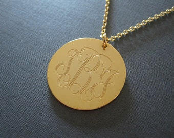 Personalized Gold Engraved Monogram Name Circle Necklace - 4 Pendant Sizes - Monogram Jewelry - Initial Necklace - Monogrammed Gifts