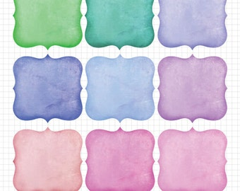 Distressed Frame Clipart, Jewel Tone Colors Instant Digital Download