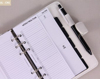 Personal inserts weekly meal plan for planner organizer, planner inserts printed with grocery list