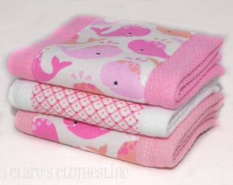 Baby Burp Cloths - Pink and White Whales Burp Cloth Set of 3 - Ready to Ship
