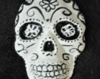 sugar skull, black and white brooch