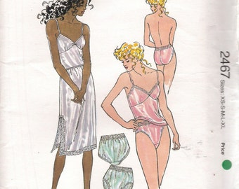 Lingerie Pattern -Kwik Sew Pattern 2467, Camisole, Slip and Panties, Size XS - XL, Uncut (P022)
