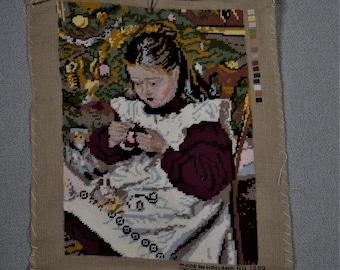 Finished Needlepoint Girl in Garden