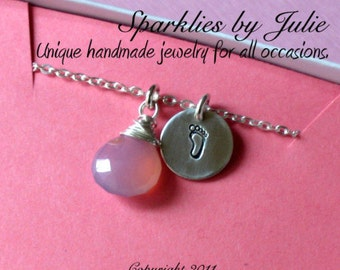 Baby Girl Necklace - Wire wrapped Pink Chalcedony briolette, hand stamped baby footprint charm, Baby Shower, Mommy to Be, Mother, Adoption