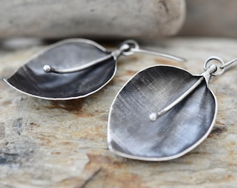 Planetdotjewelry Linen textured sterling silver leaf earrings Artisan Jewelry gifts