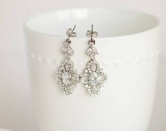 CZ Wedding Earrings, Bridal Earrings, Pearl Crystal Earrings, CZ Drop Earrings