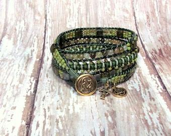 Green Leather Wrap Bracelet, Celtic Leather Wrap Bracelet, St. Patrick's Day, Beaded Wrap Bracelet, Woven Bracelet, Leather Jewelry