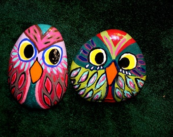 Hand Painted Rocks set of 2 with wooden shelf. 2 Owls,  and a little wooden log shelf.  Wooden Log shelf can be hung to set rocks on.