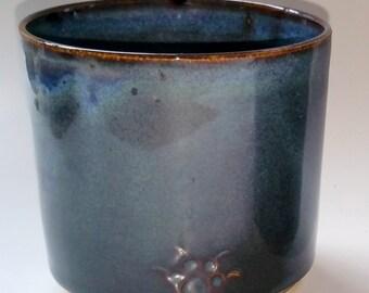 Navy Blue Whiskey Tumbler Wheel Thrown Pottery