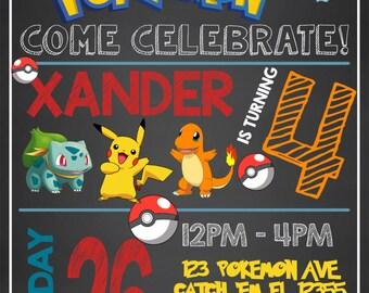 POKEMON INVITATION,Pokemon Birthday Invitation, Pokemon Invite, Pokemon Thank You, Pokemon Go Invitation, Pokemon Party, Pokemon Birthday