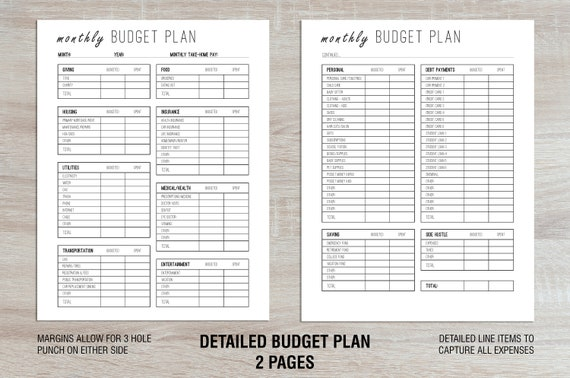 personal budget line items