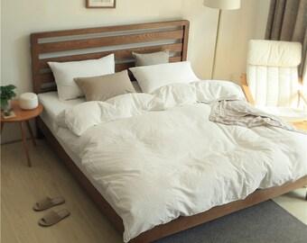 Rough Linen Duvet Cover Set | Quilt Cover Set 100% Flax Ivory Off White