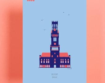 Postcards Bruges: Belfort, Onze-Lieve-Vrouwekerk, Sint-Janshuismolen, Basiliek Van Het Heilig Bloed ( 4 different postcards)