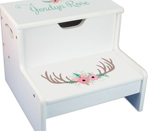 Personalized Floral Antler Childrens Step And Storage Stool