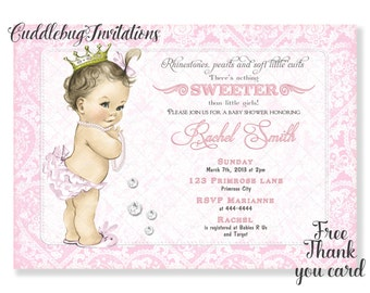 Pink Girl Baby Shower Invitation | Rhinestones and Pearls Shower Invitation | Royal Baby Girl Shower | Pink Shower Invitation Printable