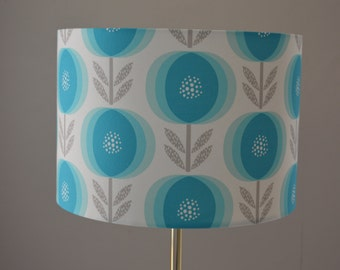 Bloom, an exclusive Rachel Cave Design for Emporium of Illumination drum lampshade - Scandinavian flowers in turquoise with grey leaves