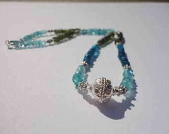 blue and green Apatite sterling silver bead necklace, silver gemstone necklace, silver  strand necklaces, graduation gift silver