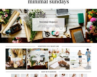 "Blogger Template ""Minimal Sundays"" Premade Blogspot Design // Instant Download Simple Blog Theme"