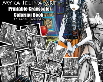 Set 1 - Grayscale Printable Coloring Pages - Myka Jelina Art - Fairy Coloring Book - Fantasy Coloring Pages - Download - 15 pages