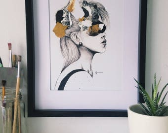 Semi abstract print, giclée print, retro female portrait, originally made with charcoal pencil and acrylic paint, black, white, gold,