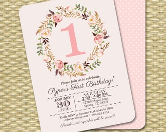 1st Birthday Invitation Girl Baby Girl Pink Watercolor Floral Printable Invitation Kids Birthday Any Age