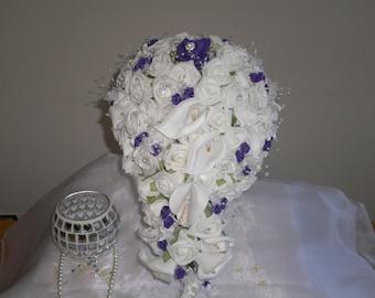 Foam Rose and Cala Lillie Bridal Teardrop Bouquet