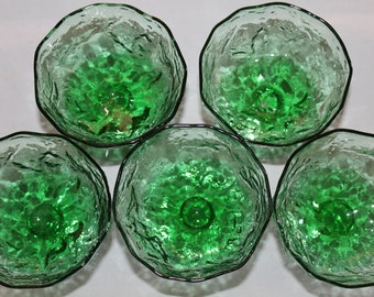 Vintage Green Glass Anchor Hocking Dessert Cup, Julep, Parfait Cups, Serving Set, Footed Ice Cream Dish